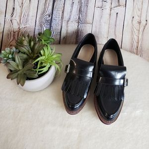 Zara Derby Black Fringe Platform Loafer